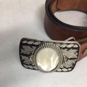 Western Style Belt Buckle Milky White Oval stone
